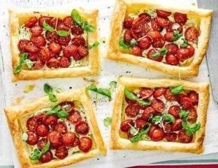 Cherry tomato and herb puff tarts