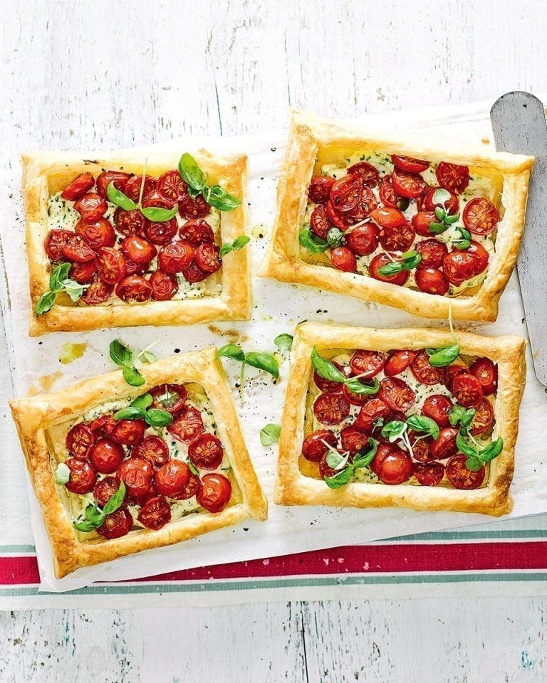 Cherry tomato and herb puff tarts