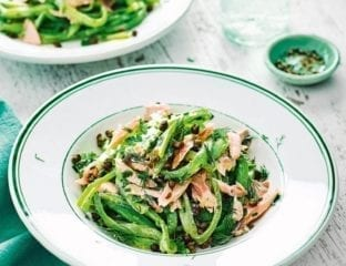 Runner bean spaghetti with salmon and capers