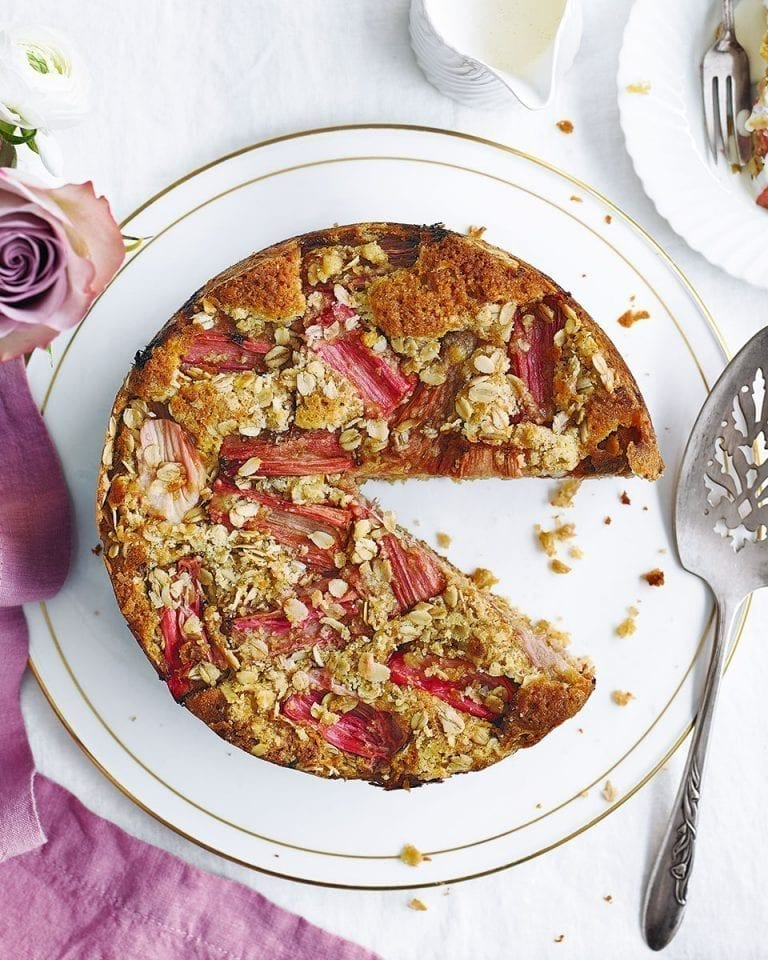 Oaty rhubarb and ginger streusel cake