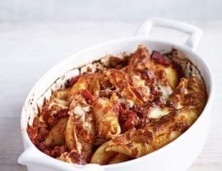 Spicy tomato and chorizo pasta bake