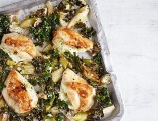 One-tray roast chicken with pesto stuffing and greens