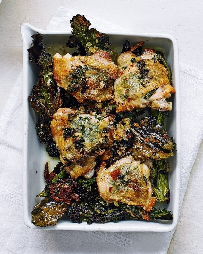 Garlic and parsley roast chicken with crunchy purple sprouting broccoli