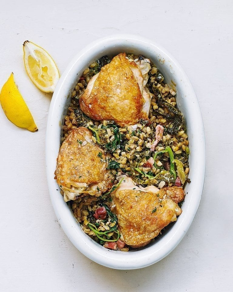Chicken with baked pearl barley risotto