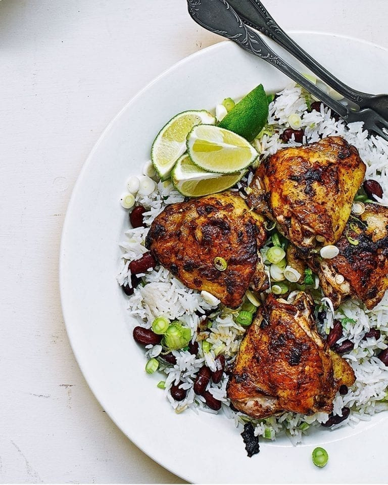 Easy jerk chicken and coconut rice