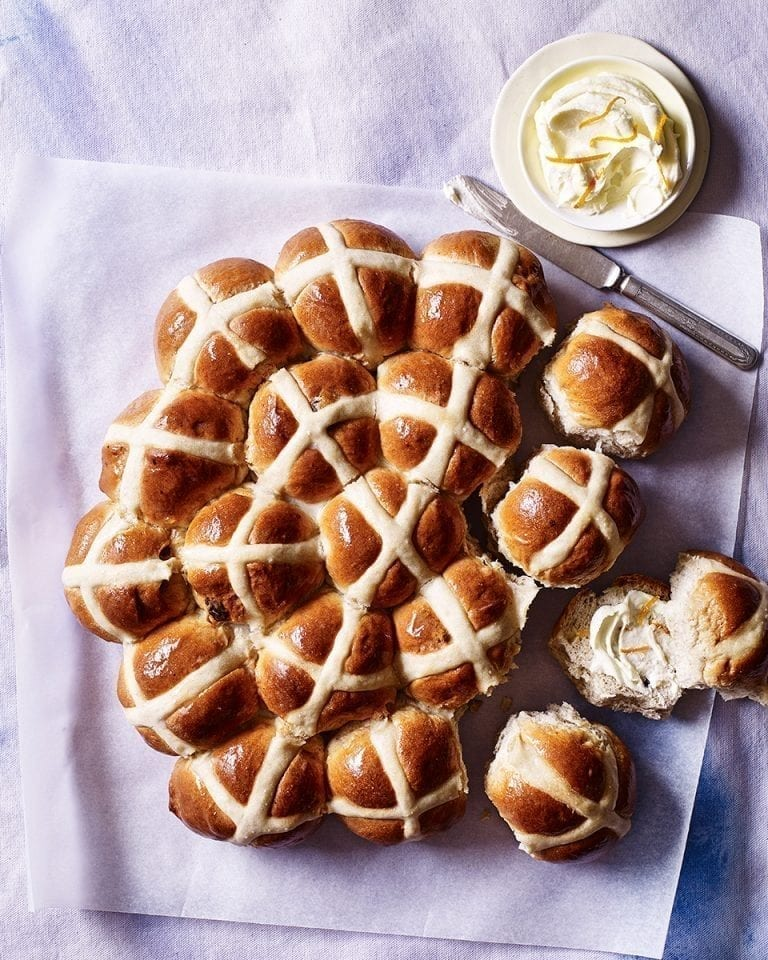 Hot cross buns with marmalade vodka whipped butter
