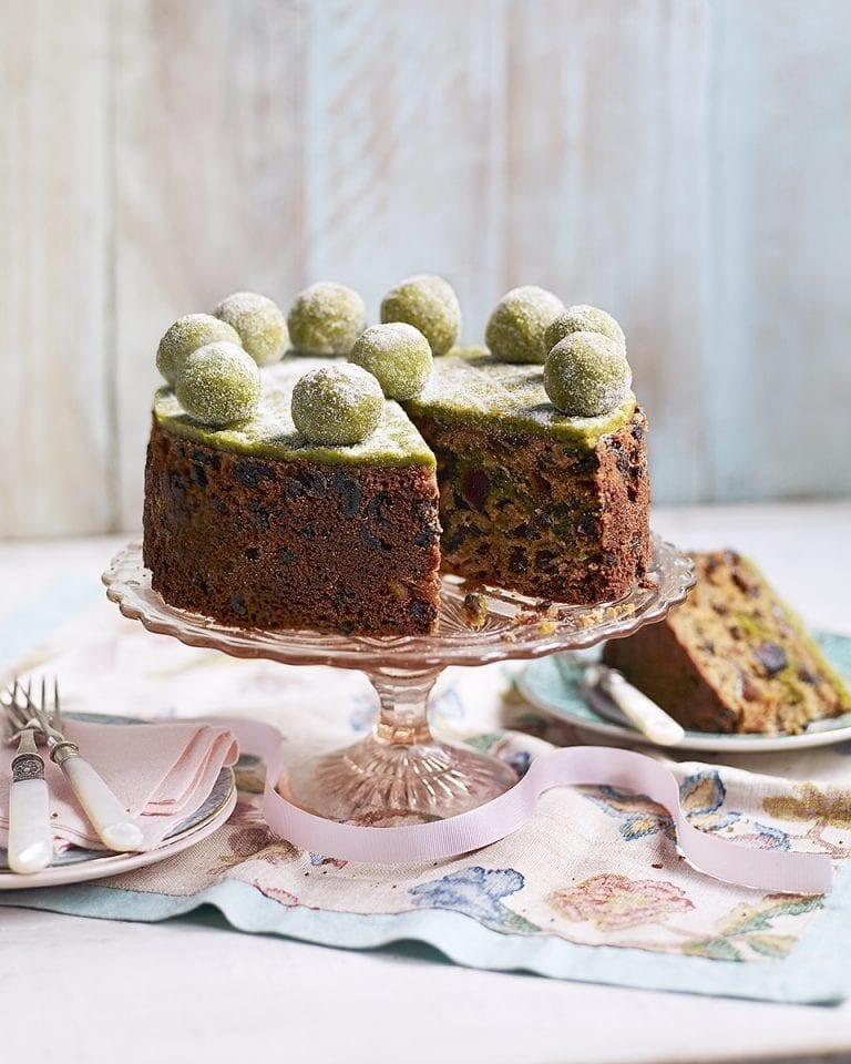 Whisky and pistachio simnel cake