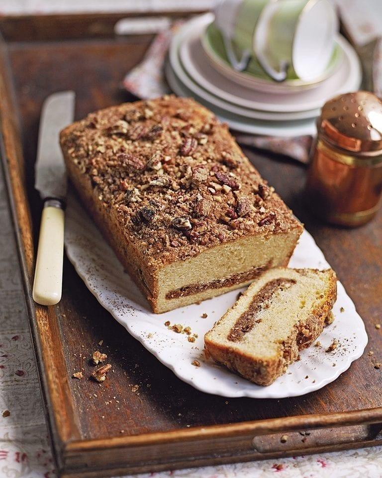 Pecan and cinnamon streusel coffee cake