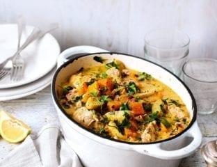Chicken, cider and vegetable casserole