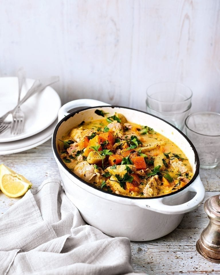 Chicken, cider and vegetable casserole