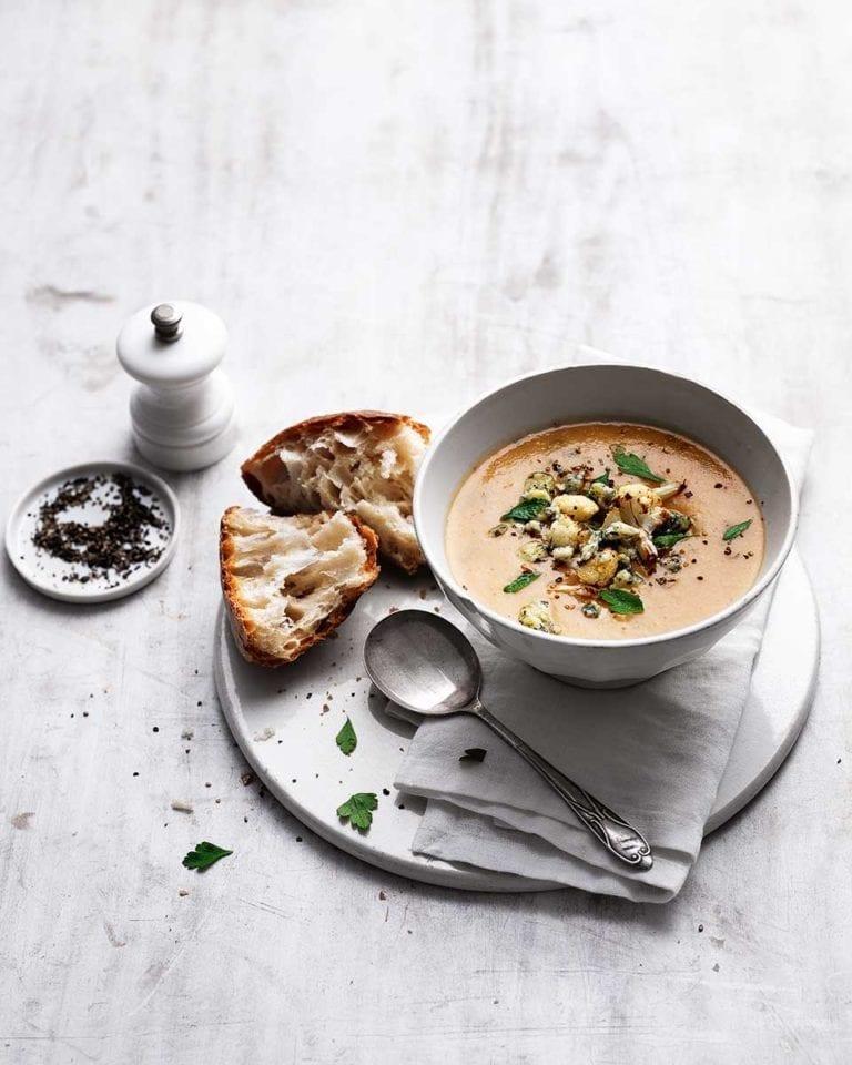 Roasted cauliflower and stilton soup