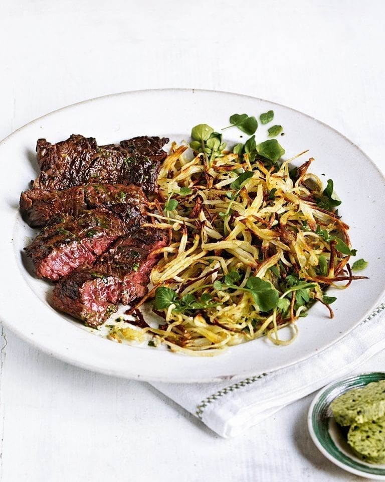 Onglet steak with watercress butter and shoestring potatoes