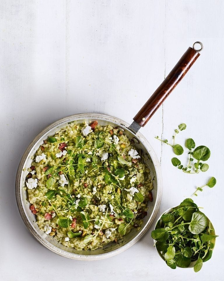 Watercress risotto with goat's cheese and bacon