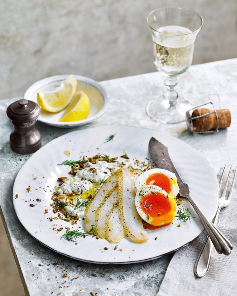Soft-boiled eggs, dill sauce and smoked halibut with toasted fennel crumb