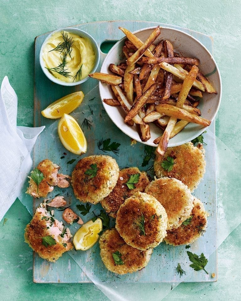 Hot-smoked salmon and parsley fishcakes with lemon mayonnaise and homemade chips | delicious. magazine