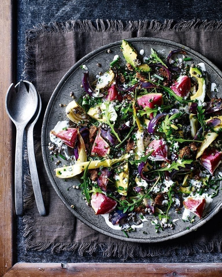 Lentil and roasted vegetable salad with buttermilk dressing