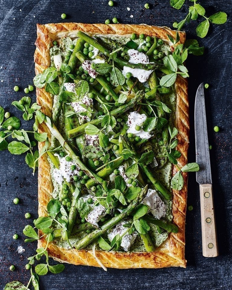 Asparagus, pea shoot and butter bean tart