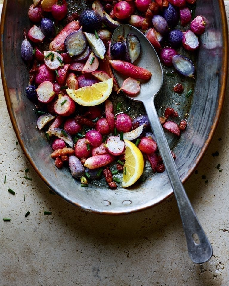Roasted radishes in brown anchovy butter