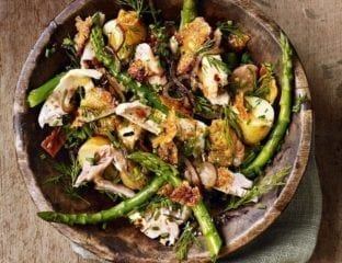 Chicken, anchovy and jersey royal salad