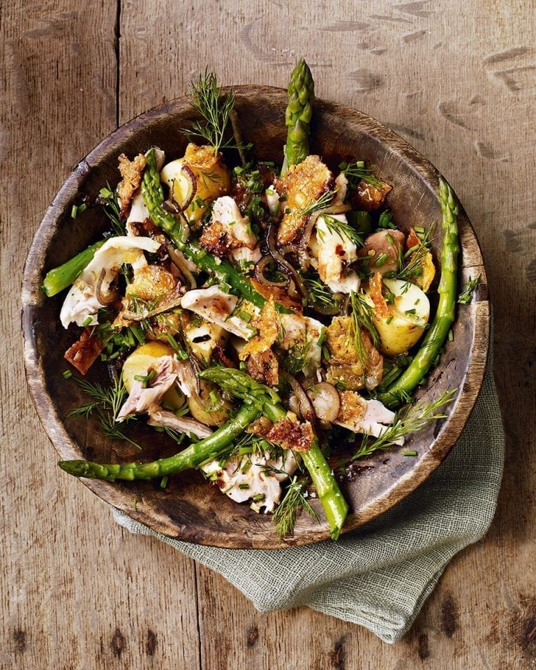 Salad of chicken, anchovies, jersey royals, asparagus, dill and chives | delicious. magazine