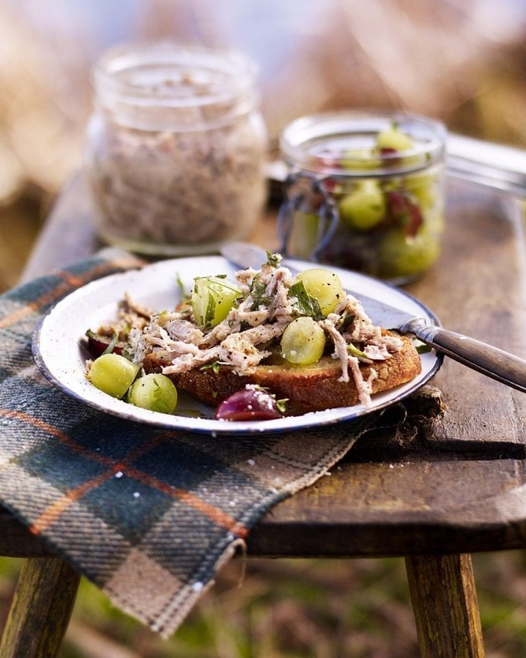 Potted pork rillettes with gooseberries and tarragon