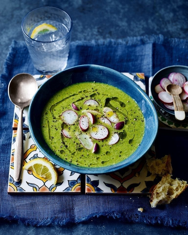 Chilled radish, watercress and tahini yogurt soup