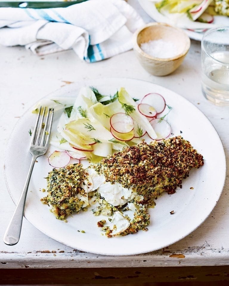 Baked cod with pistachio crust