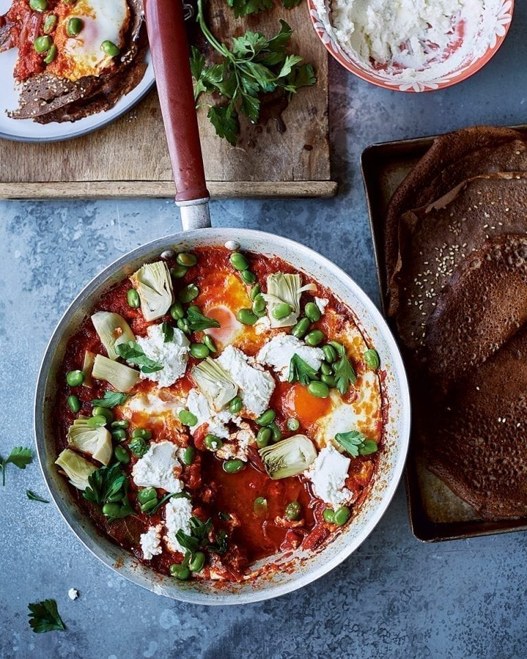 Shakshuka with broad beans and labneh