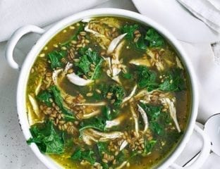 Chicken, kale and pesto soup