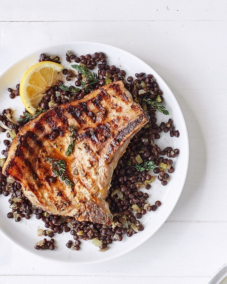 Lemon and thyme pork chops with lentils