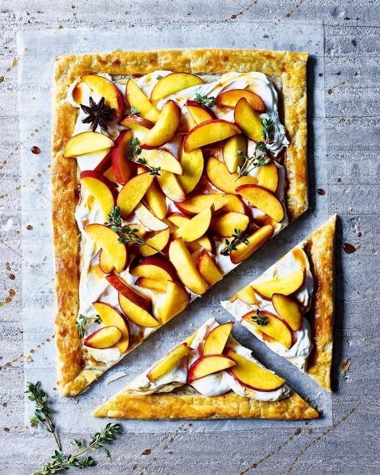 Rough puff mascarpone tart with boozy peaches
