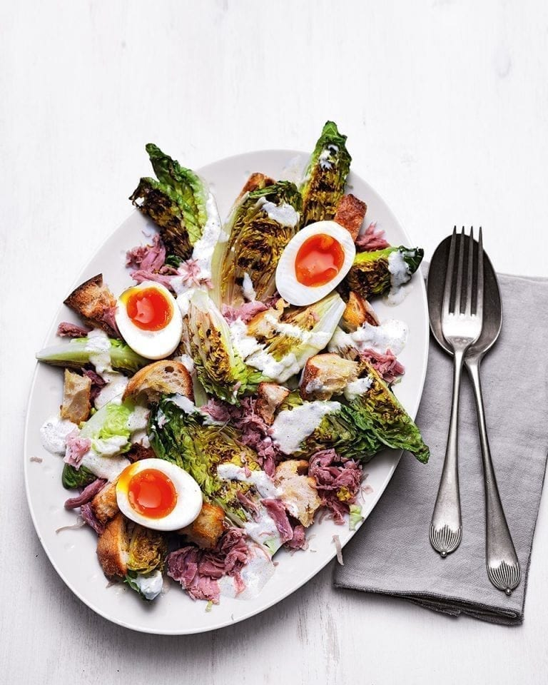 Griddled little gem and ham hock caesar salad