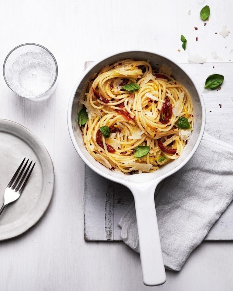 One-pot garlic, sun-dried tomato and pecorino pasta   delicious. magazine