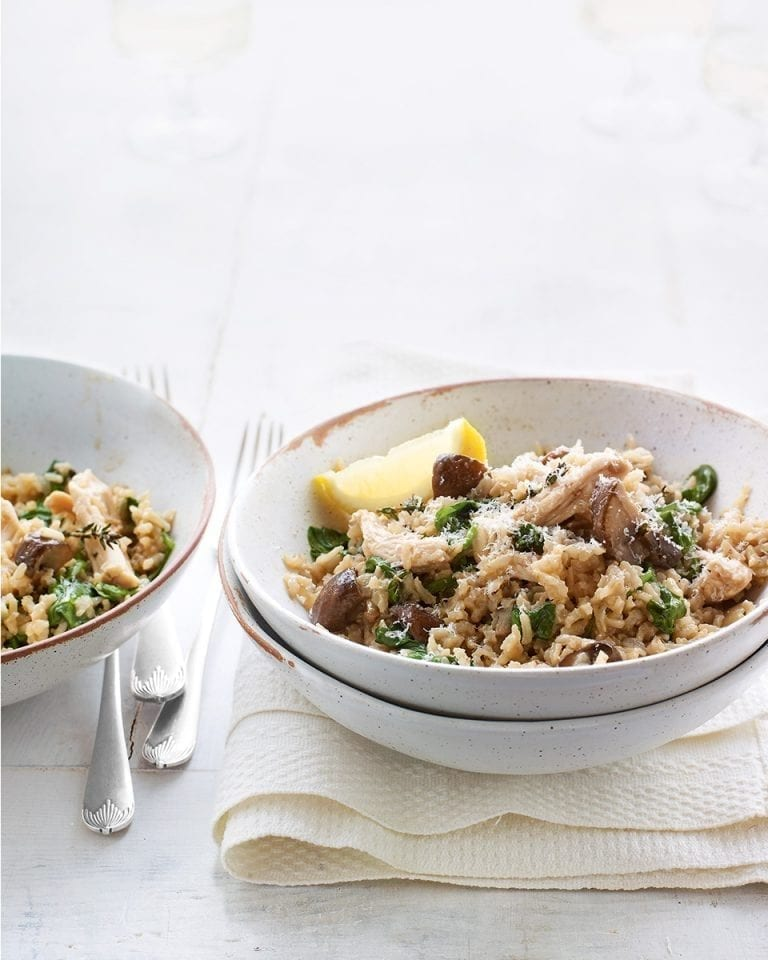 Baked chicken, mushroom and thyme brown rice risotto
