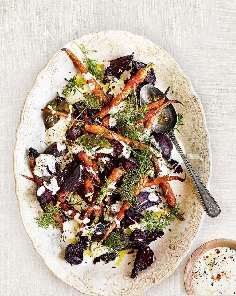 Roast carrot, beetroot and marjoram salad with fennel seed and yogurt dressing