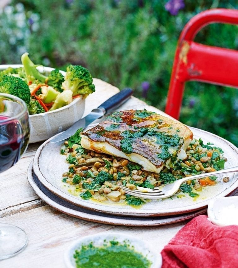 Giorgio Locatelli's cod, parsley sauce and lentils