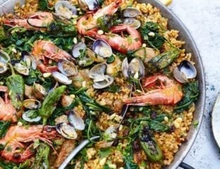 Paella cooked on the barbecue
