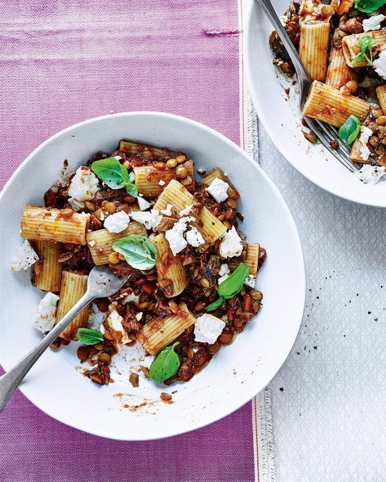 Vegetarian ragù with rigatoni, feta and basil | delicious. magazine