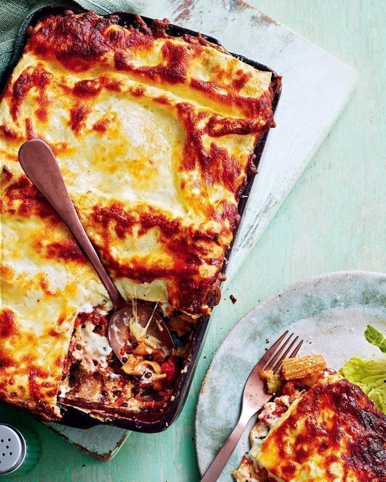 Roasted vegetable and lentil lasagne