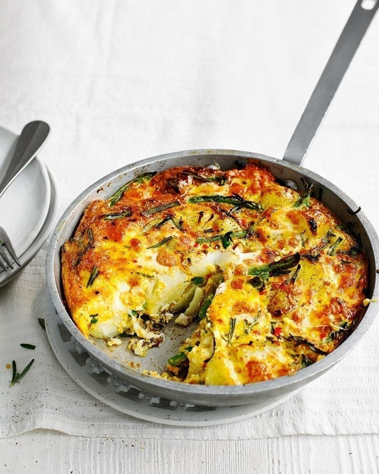 New potato, bean and mozzarella frittata