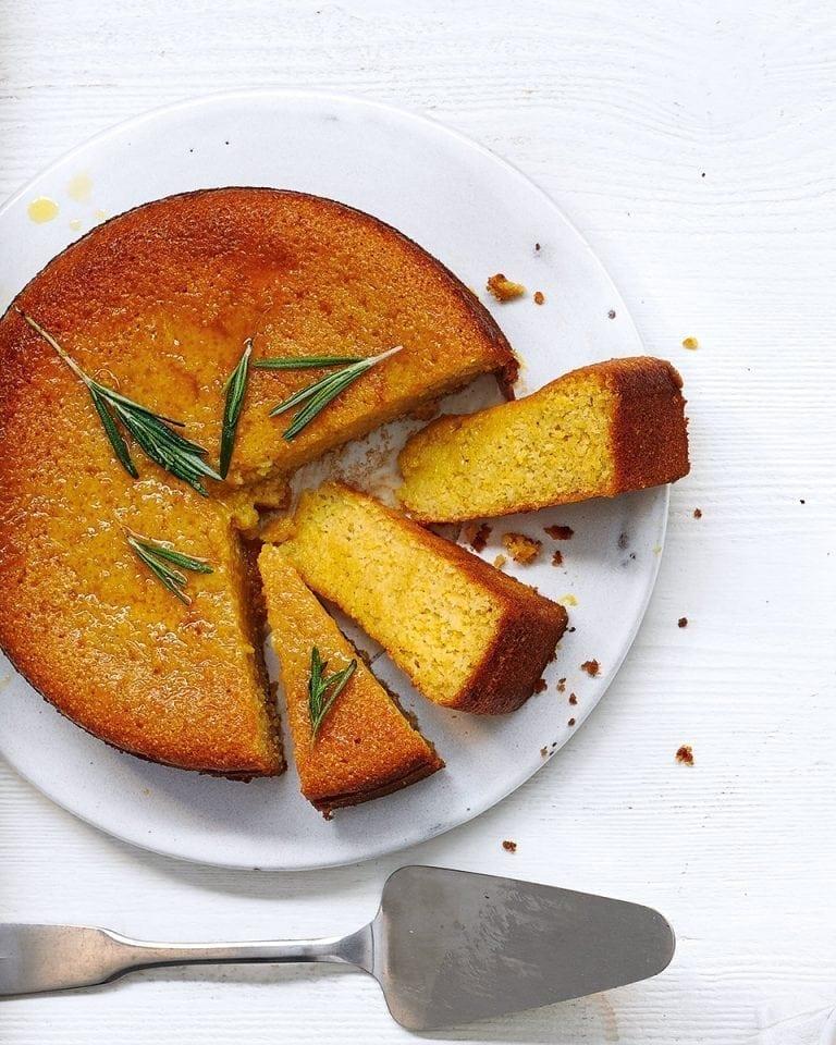 Honey, rosemary and yogurt polenta cake | delicious. magazine
