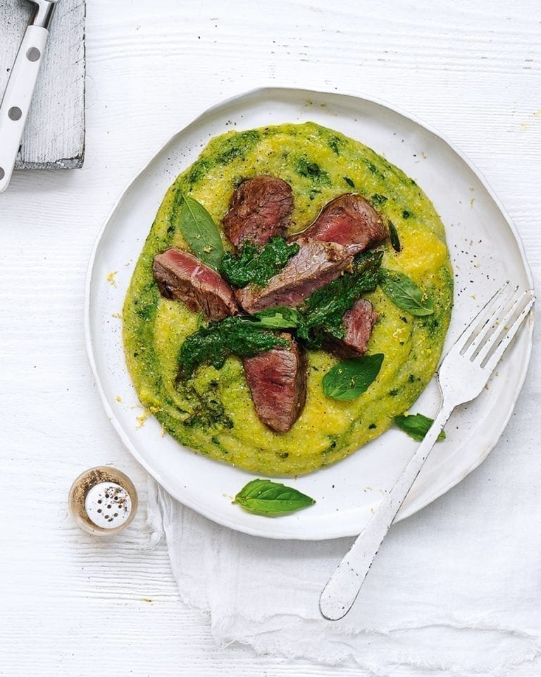 Lamb steaks with garlic, basil and spinach polenta
