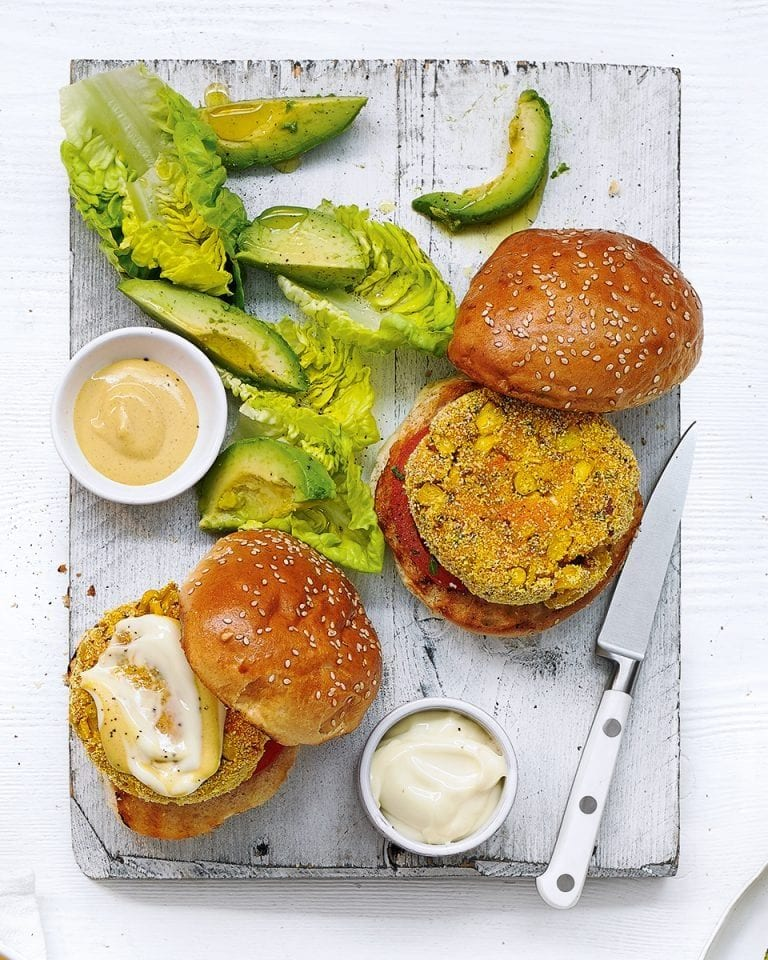 Sweet potato and sweetcorn vegan burgers