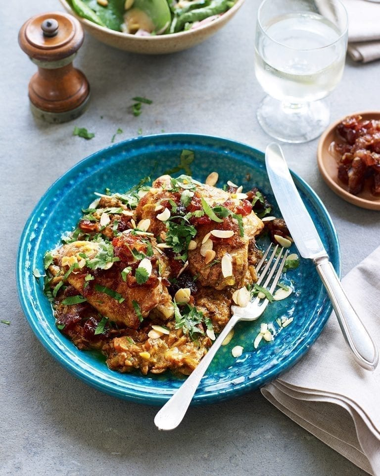 Chicken in an almond sauce with a sweet date salsa