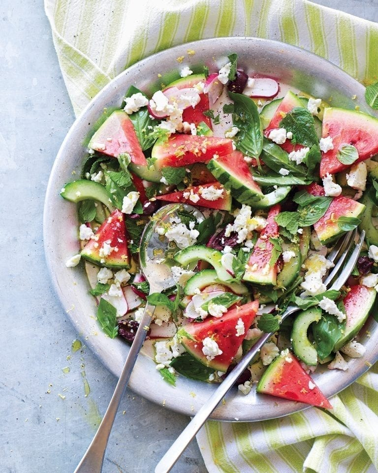 Summery watermelon and feta salad