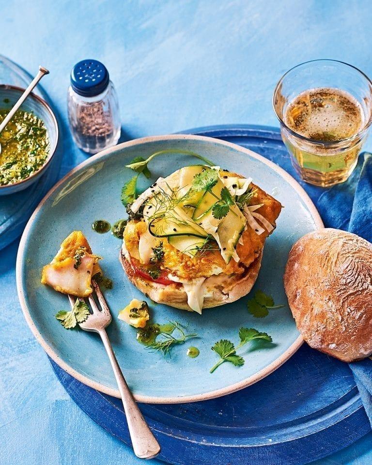 Turmeric cod burgers with coriander chutney