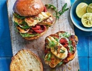 Halloumi and sweet potato burgers with chilli, mint and mashed avocado