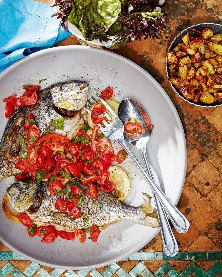 Roasted sea bream, tomato salad and rosemary potatoes
