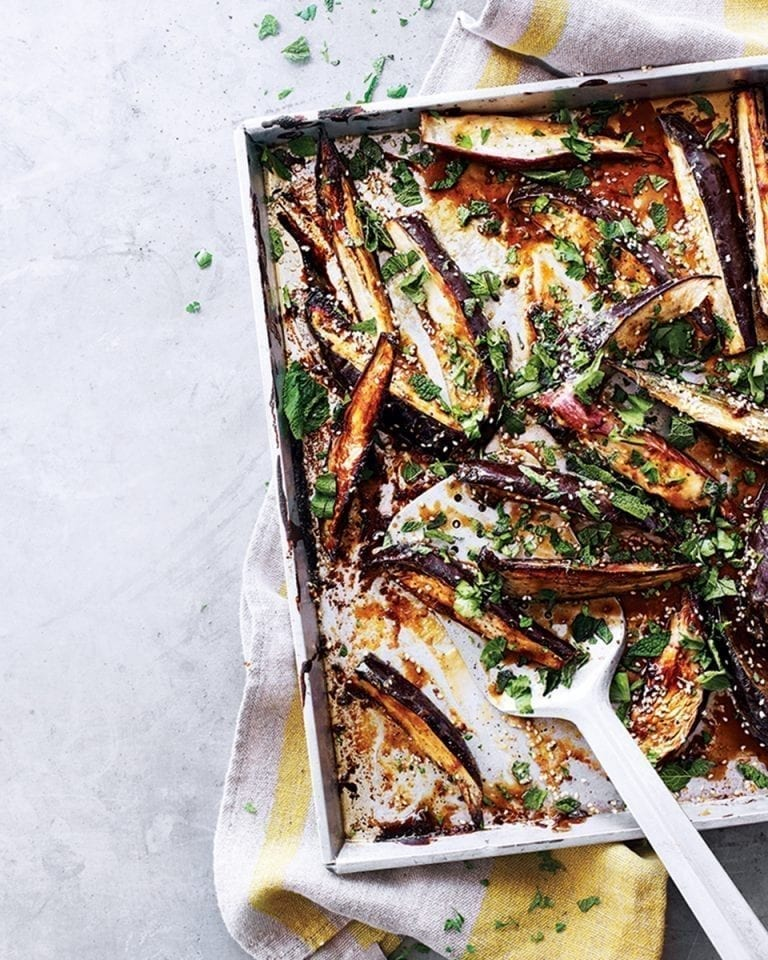 Sticky miso and tahini aubergine wedges