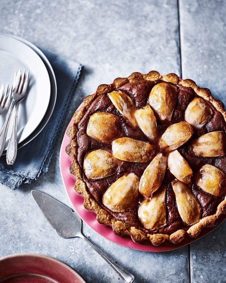 Chocolate frangipane pear tart